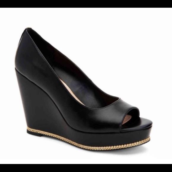 4588ce5a5f BCBGeneration Shoes | Tall Bcbg Generation Black Peep Toe Wedges 75 ...